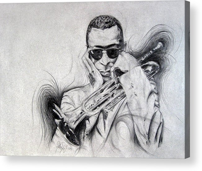 Michael Morgan Acrylic Print featuring the drawing Ghost Of Miles Past by Michael Morgan