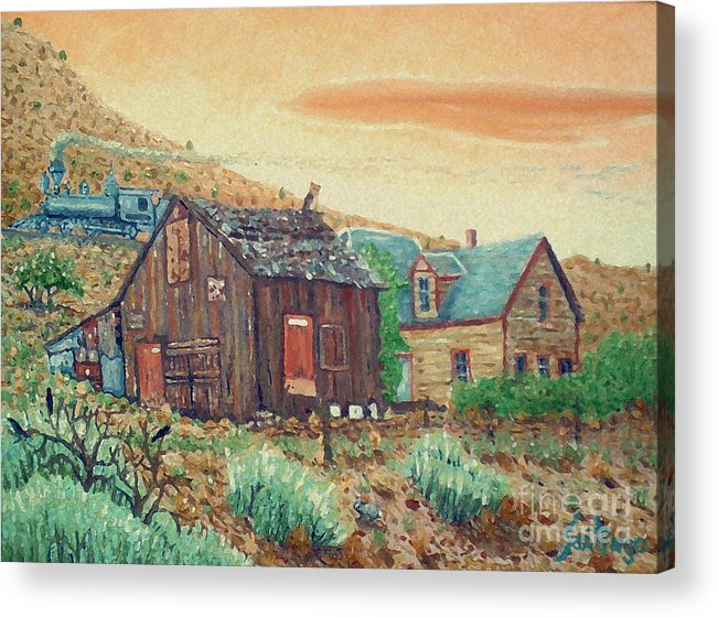 Southwest Acrylic Print featuring the painting Ghost Train by Santiago Chavez