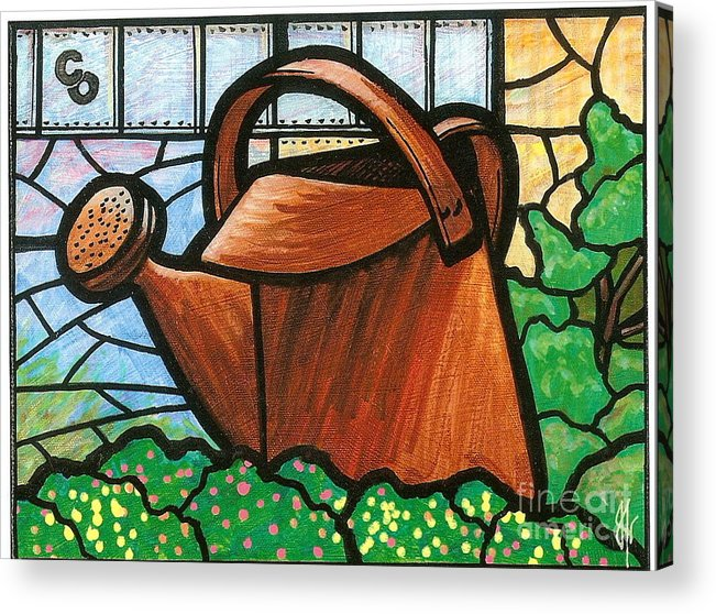 Gardening Acrylic Print featuring the painting Giant Watering Can Staunton Landmark by Jim Harris