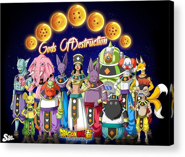 Goku New Form Acrylic Print featuring the digital art God Of Destruction by Babbal Kumar