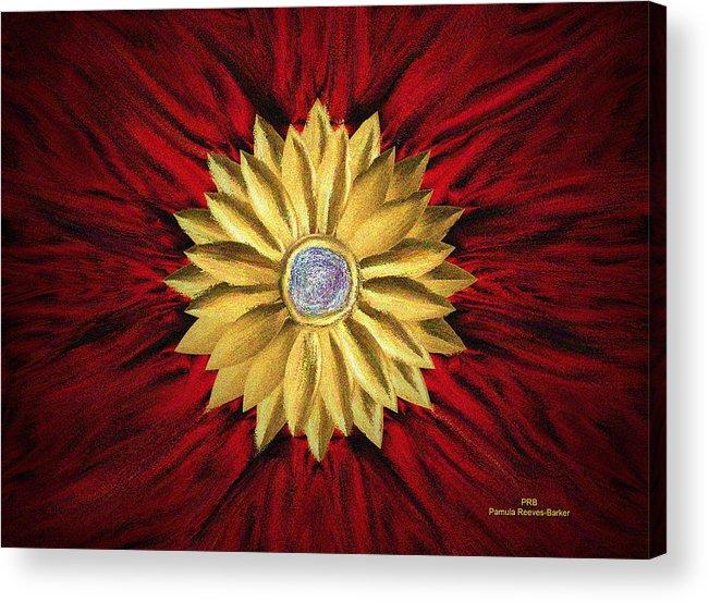 Golden Acrylic Print featuring the digital art Golden Flower by Pamula Reeves-Barker