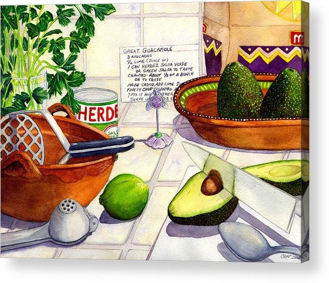 Guacamole Acrylic Print featuring the painting Great Guac. by Catherine G McElroy