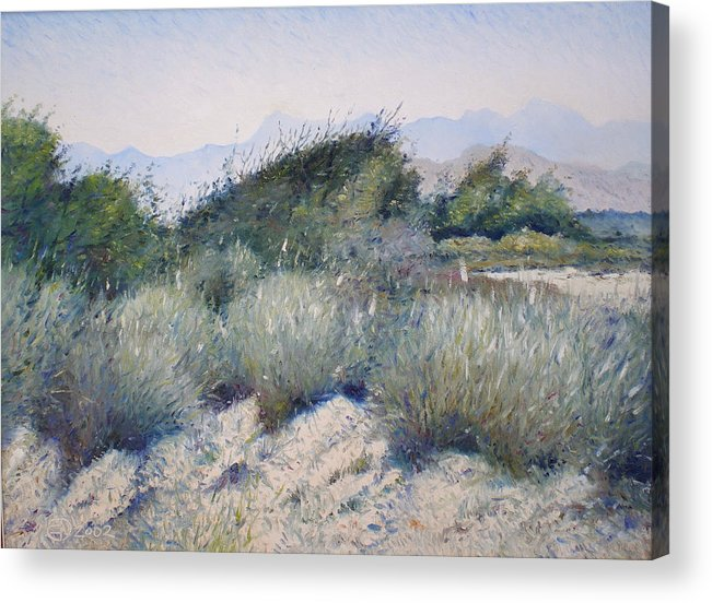 Oman Landscapes Acrylic Print featuring the painting Hajar Mountains Oman 2002 by Enver Larney