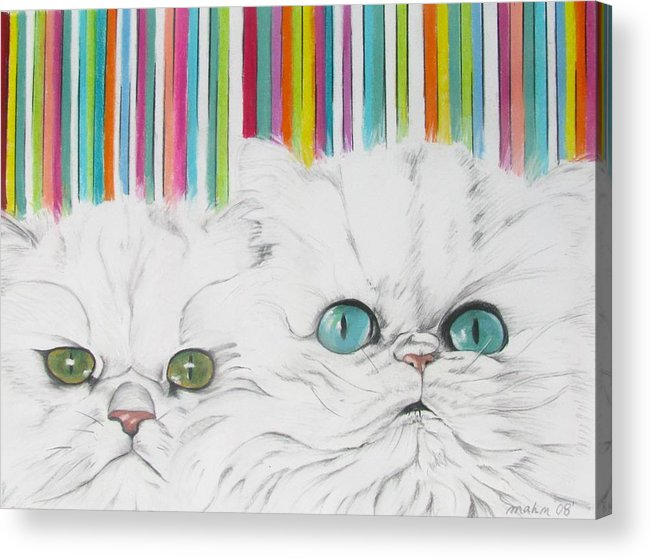 Cat Painting Acrylic Print featuring the pastel Harley And Chloe by Michelle Hayden-Marsan