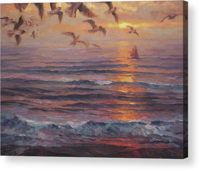 Coast Acrylic Print featuring the painting Heading Home by Steve Henderson