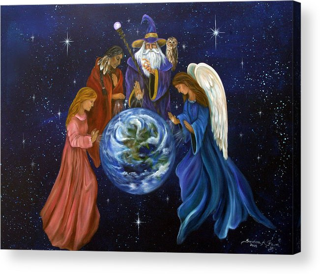 Earth Acrylic Print featuring the painting Healing Mother Earth by Sundara Fawn