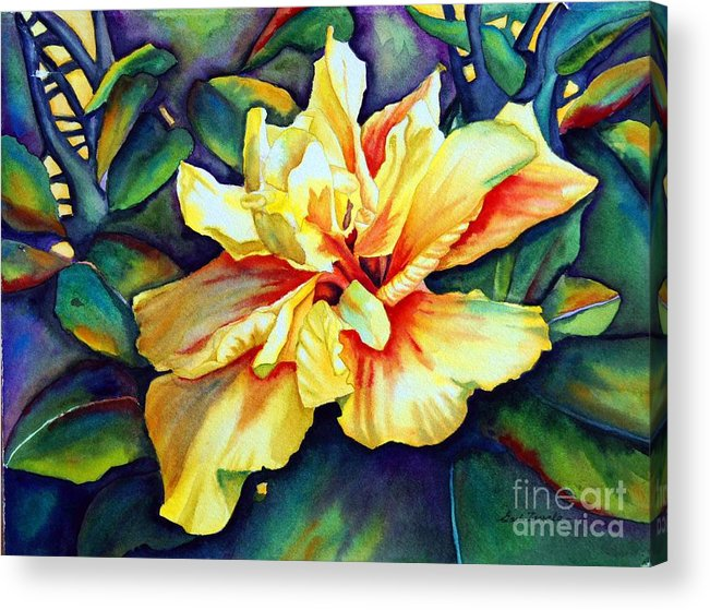 Floral Acrylic Print featuring the painting Heart Of Fire by Gail Zavala