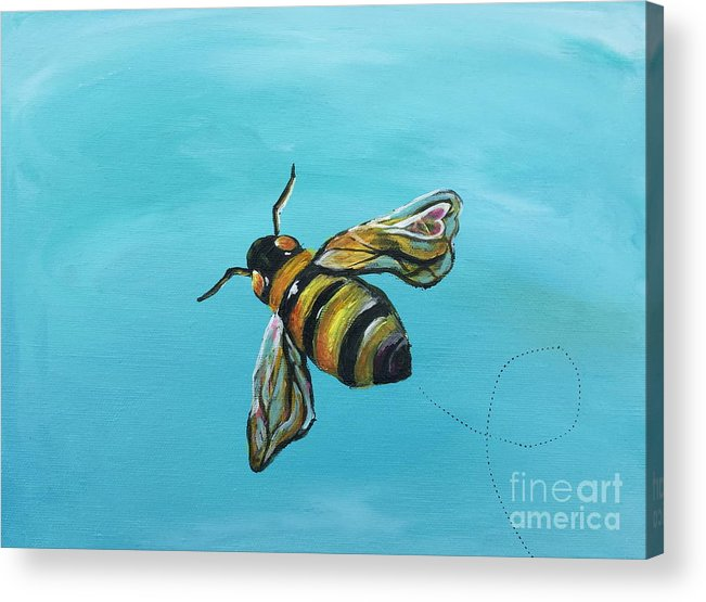 Bee Acrylic Print featuring the painting Heart On My Wing by Kim Heil