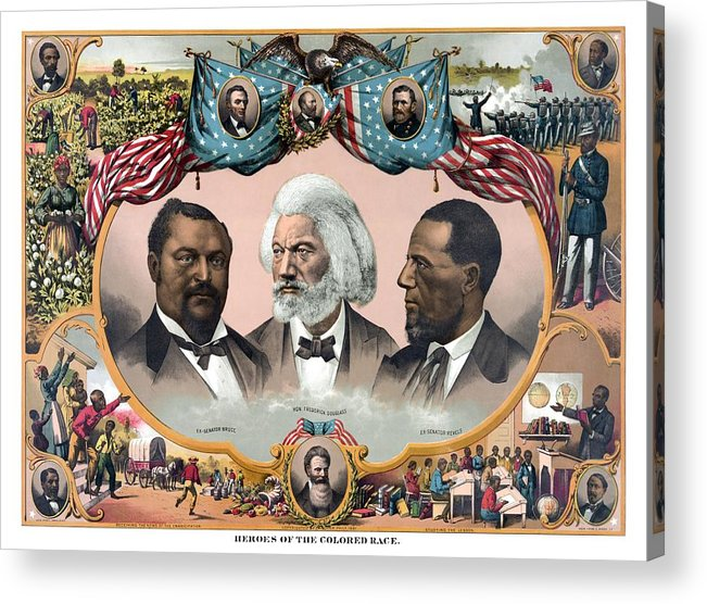 Black History Acrylic Print featuring the painting Heroes Of The Colored Race by War Is Hell Store