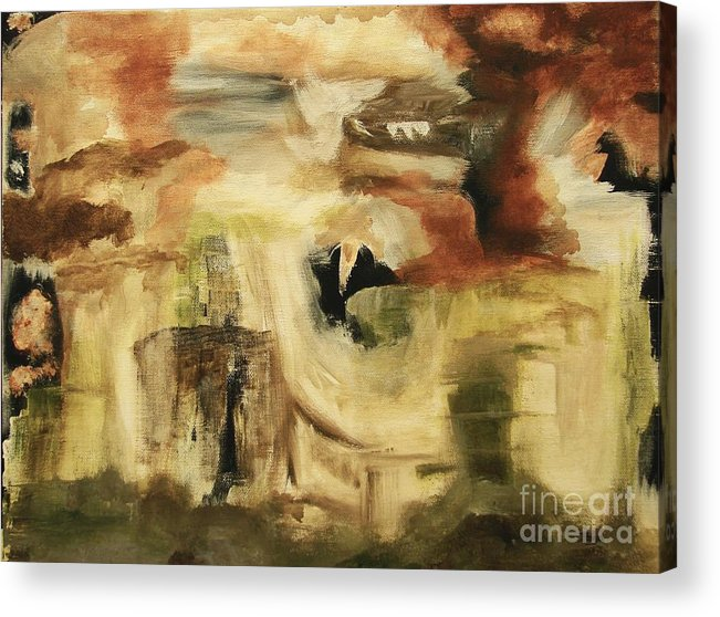 Abstract Acrylic Print featuring the painting Hidden Places - Contemporary Modern Abstract Art Painting by Itaya Lightbourne
