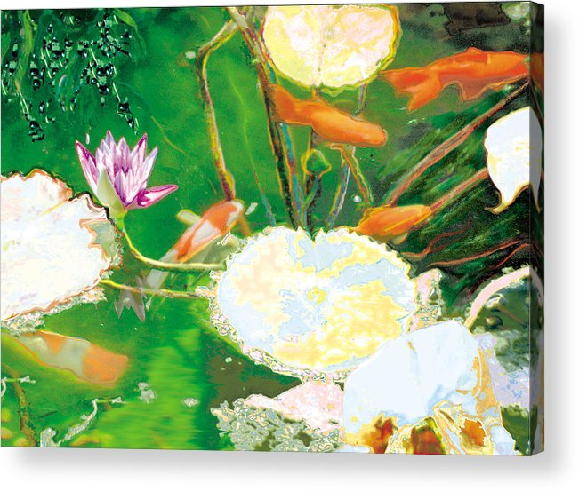 Koi Acrylic Print featuring the photograph Hide And Seek Kio In The Green Pond by Judy Loper