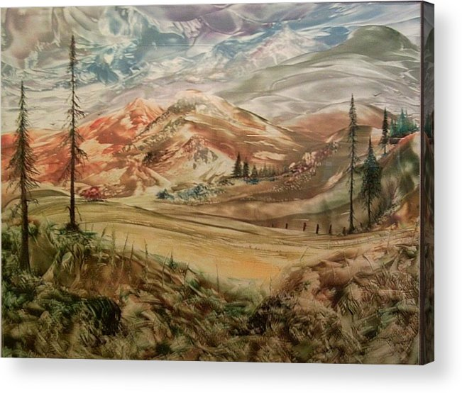 Landscape Acrylic Print featuring the painting High Meadowland by John Vandebrooke