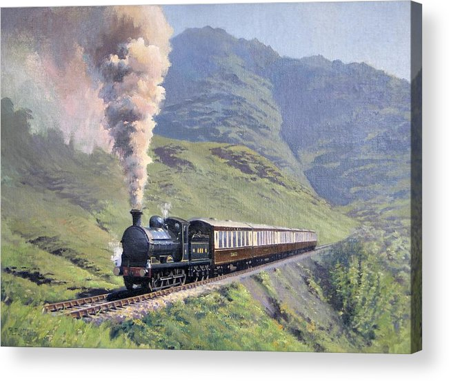 Steam Acrylic Print featuring the painting Highland Steam by Richard Picton
