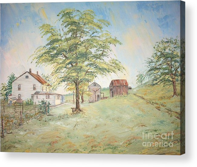 White House; 2 Sheds; Green Tree In Foreground; Set Of 4 Homeplace Prints For $100.00 Acrylic Print featuring the painting Homeplace - The Farmhouse by Judith Espinoza