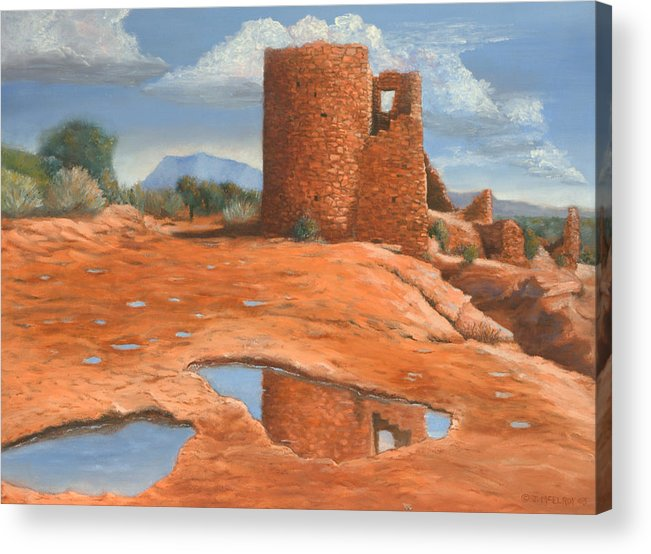 Anasazi Acrylic Print featuring the painting Hovenweep Reflection by Jerry McElroy