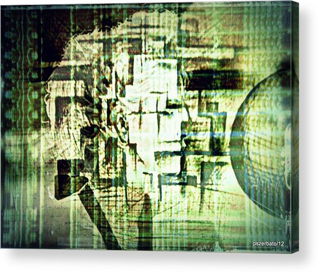 Peculiarities Of Face Acrylic Print featuring the digital art Identity In Uninterrupted Mutation by Paulo Zerbato