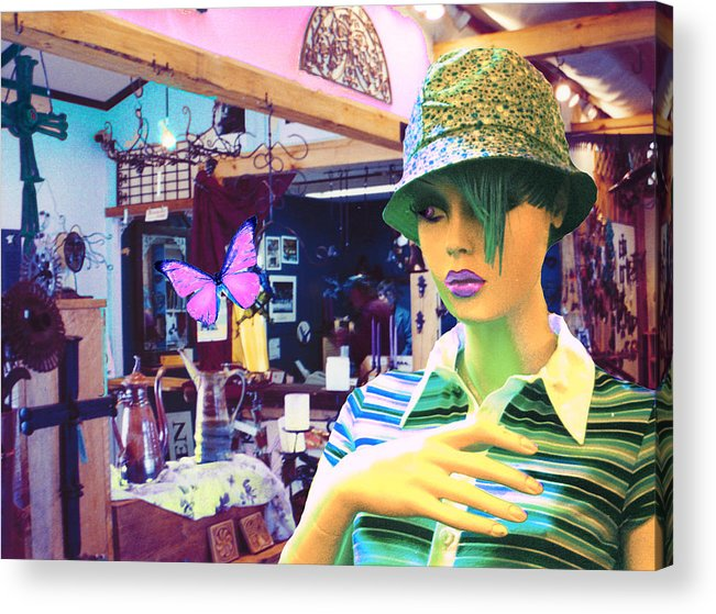 Hat Acrylic Print featuring the digital art In The Shop by Sarah Crumpler