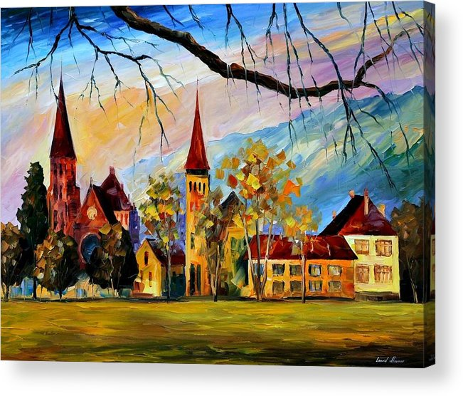 Afremov Acrylic Print featuring the painting Interlaken Switzerland by Leonid Afremov
