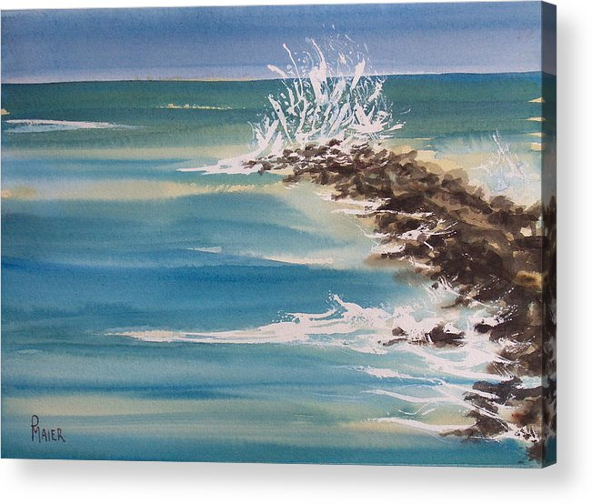 Ocean Acrylic Print featuring the painting Jersey Rocks by Pete Maier