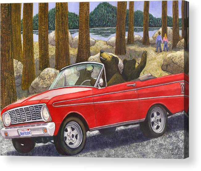 Bears Acrylic Print featuring the painting Joy Ride by Catherine G McElroy