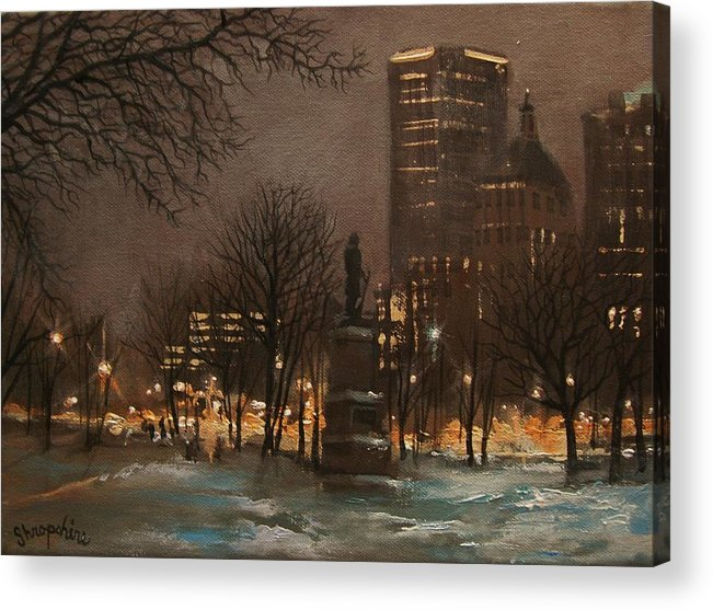 City At Night Acrylic Print featuring the painting Juneau Park Milwaukee by Tom Shropshire