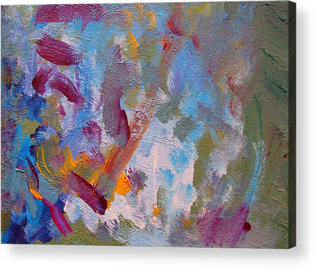 Abstract Acrylic Print featuring the painting Just A Little Yellow by Kitty Hansen