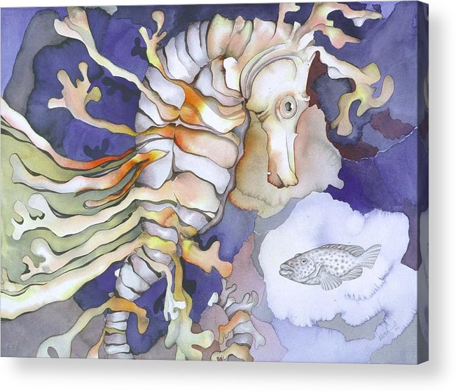 Sealife Acrylic Print featuring the painting Just Dreaming Too by Liduine Bekman