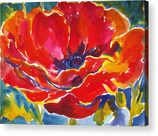 Poppys Acrylic Print featuring the painting Just One Poppy Sold by Therese Fowler-Bailey