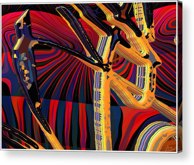 Digital Art; Abstract Art; Bryce 3-d Acrylic Print featuring the digital art Kali-fa-callig10x11m8 by Terry Anderson