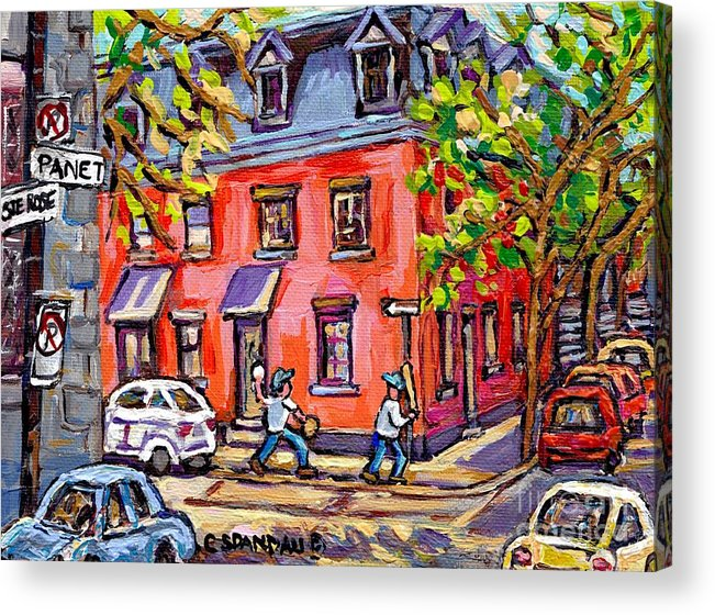 Kids Baseball Paintings Sunlit Summer Scene Pink House At Panet And Ste  Rose Best Canadian Art Acrylic Print