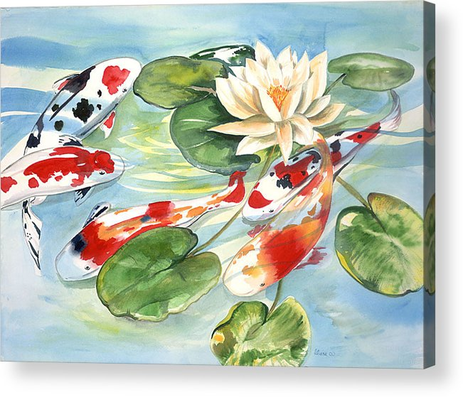 Nature Pond With Koi Acrylic Print featuring the painting Koi In The Water Lilies by Ileana Carreno