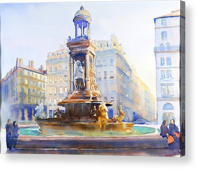 Europ Acrylic Print featuring the painting La Fontaine Des Jacobins by Joel Tenzin