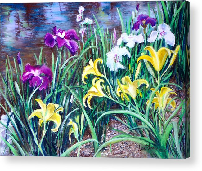 Floral Acrylic Print featuring the painting Ladies Club by Anne Rhodes