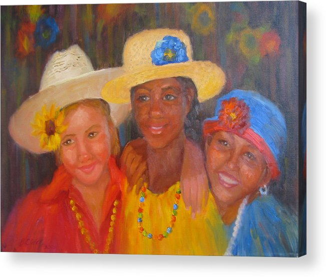Figure Acrylic Print featuring the painting Lean On Me by Bunny Oliver