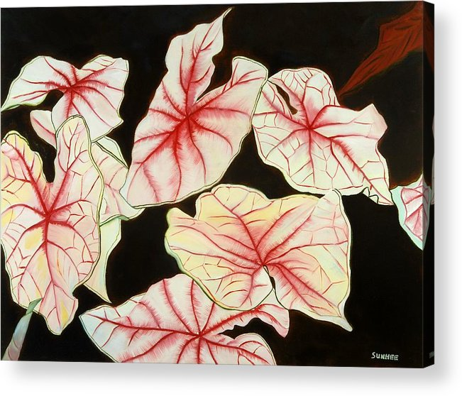 Leaves Acrylic Print featuring the painting Leaves by Sunhee Kim Jung