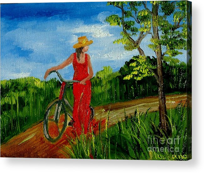 Girl Acrylic Print featuring the painting Ledy With The Bike by Inna Montano