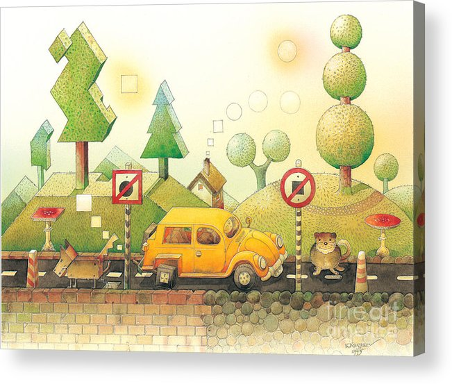 Car Dog Cat Tree Sun Landscape Green Yellow Acrylic Print featuring the painting Lisas Journey02 by Kestutis Kasparavicius