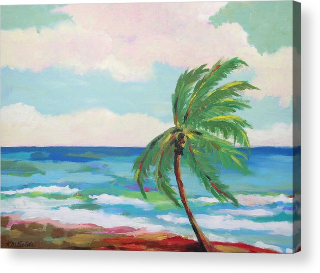 Palm Tree Acrylic Print featuring the painting Lone Palm On The Beach by Karen Fields