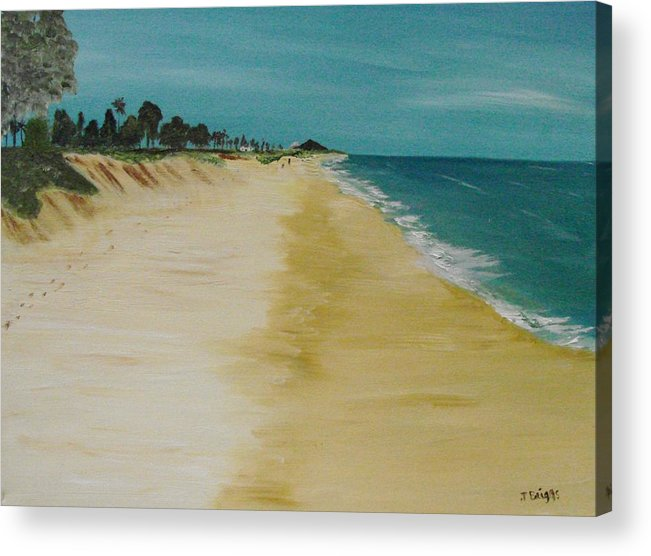 Beach Acrylic Print featuring the painting Looking Up The Beach by Dottie Briggs