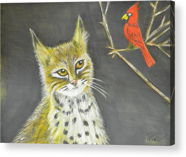 Kentucky Wildcat Acrylic Print featuring the painting Love My Cats And Cards by Teresa French McCarthy