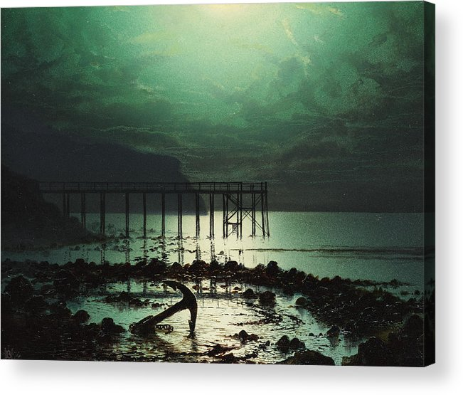 Seascape Acrylic Print featuring the painting Low Tide By Moonlight by WHJ Boot