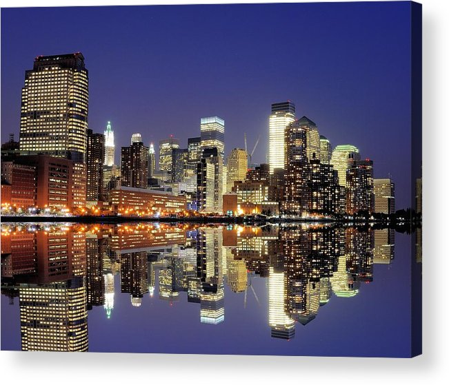 Horizontal Acrylic Print featuring the photograph Lower Manhattan Skyline by Sean Pavone