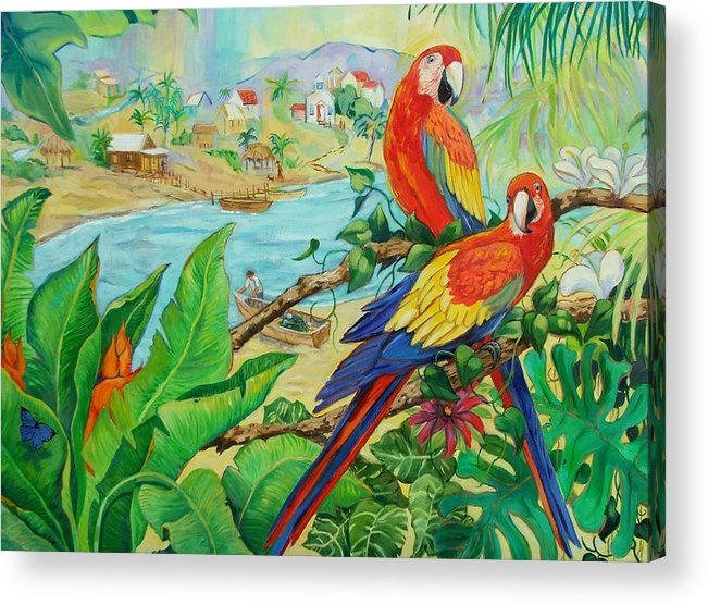 Birds Acrylic Print featuring the painting Macaws by Dianna Willman