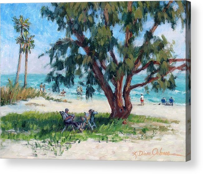 Tropical Beach Acrylic Print featuring the painting Made In The Shade by L Diane Johnson
