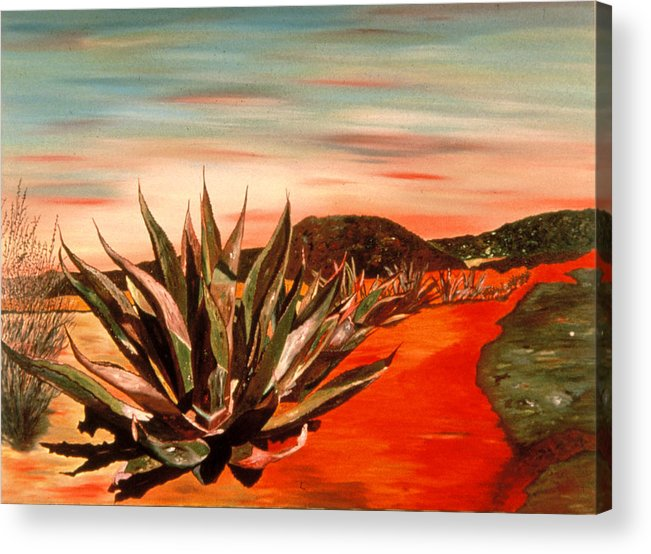 Landscape Acrylic Print featuring the painting Magueys At Sunset by Oudi Arroni