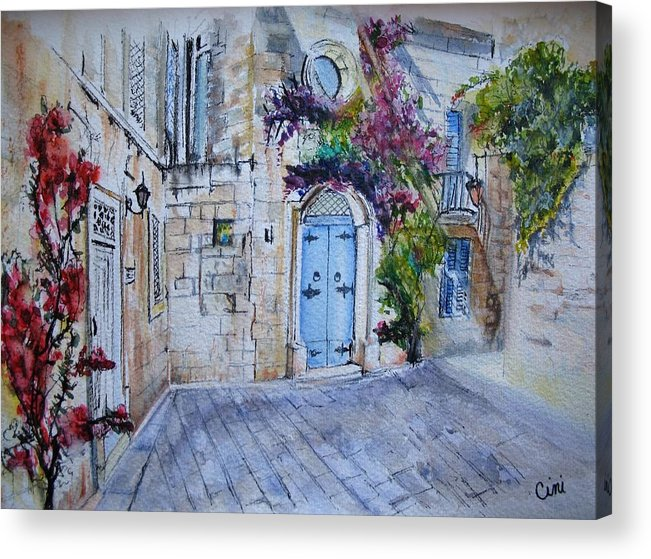 Red Acrylic Print featuring the painting Malta Courtyard by Lisa Cini