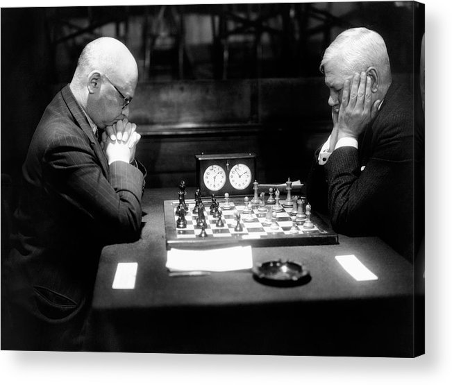 55-59 Years Acrylic Print featuring the photograph Mature Men Playing Chess, Profile (b&w) by Hulton Archive