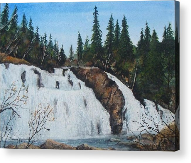 Landscape Acrylic Print featuring the painting Mink Falls by Theresa Jefferson