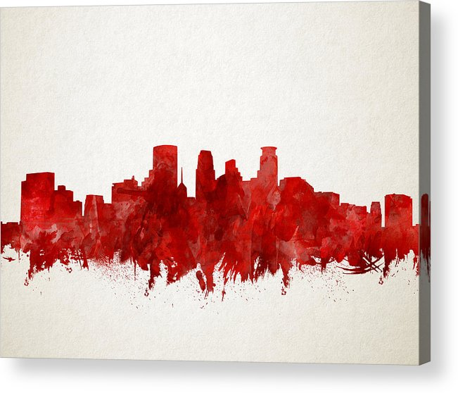 Minneapolis Acrylic Print featuring the painting Minneapolis Skyline Watercolor Red by Bekim M