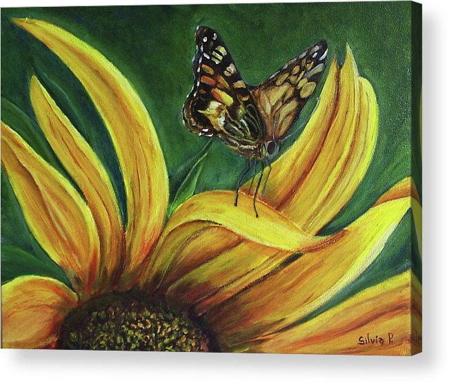 Butterfly Acrylic Print featuring the painting Monarch Butterfly On A Sunflower by Silvia Philippsohn